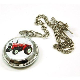 Boxx Gents White Dial Tractor Pocket Watch on 12 Inch Chain M5061: Watches