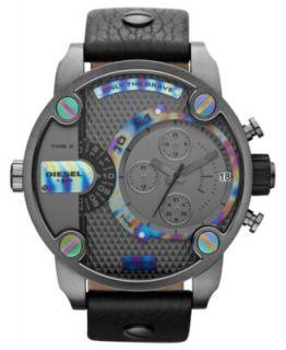 Diesel Watch, Chronograph Black Leather Strap 65x75mm DZ7193   Watches   Jewelry & Watches