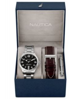 Nautica Watch, Mens Cognac Pebble Grain Leather Strap N09560G   Watches   Jewelry & Watches