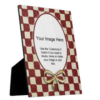 Photo Template   Funky Red and Gold Check Display Plaques