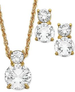 Swarovski Jewelry Set, 22k Gold Plated Double Round Cut Crystal Pendant Necklace and Stud Earrings   Fashion Jewelry   Jewelry & Watches