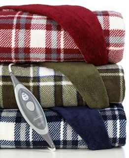 CLOSEOUT Slumber Rest Microplush Plaid Reversible Heated Throw   Blankets & Throws   Bed & Bath