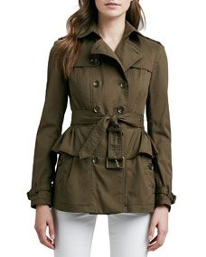 Burberry Brit Belted Peplum Trench Jacket