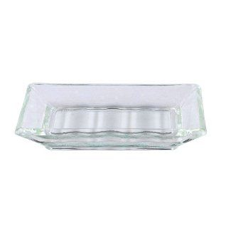 Vintage French Recycled Glass Bar Soap Dish for Kitchen Laundry & Bath ~ G158 Clear Glass French Retro Style Bar Soap Holder   Soap Dishes For Bathroom