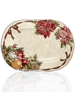 222 Fifth Holiday Yuletide Celebration Oval Platter   Serveware   Dining & Entertaining