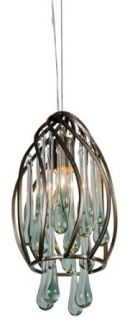Varaluz 151M01NB Area 51 Collection 1 Light Mini Pendant, New Bronze Finish with Recycled Glass Drops   Ceiling Pendant Fixtures