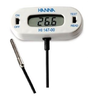 Hanna Instruments HI147 00 Checkfridge C Remote Sensor Thermometer with Stainless Steel Thermistor Probe,  50.0 to 150.0 Degree C Range: Science Lab Meters: Industrial & Scientific