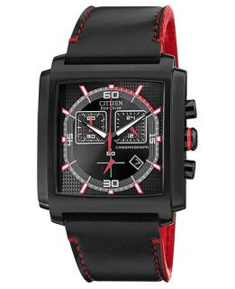 Citizen Mens Chronograph Drive from Citizen Eco Drive Black Leather Strap Watch 40mm AT2215 07E   Watches   Jewelry & Watches