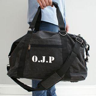personalised canvas weekend bag in black by sparks clothing