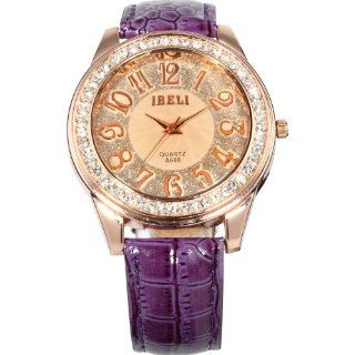 AMPM24 Fashion Bling Crystal Women Lady Girl Analog Purple Leather Quartz Watch Gift WAA248 Watches
