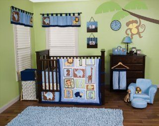 Trend Lab Baby Boy Nursery Room Jungle 123 3PC Crib Bedding Set Quilt, Sheet, Skirt  Baby