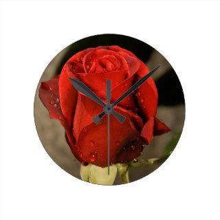 Red Camp David Hybrid Tea Rose Wall Clock