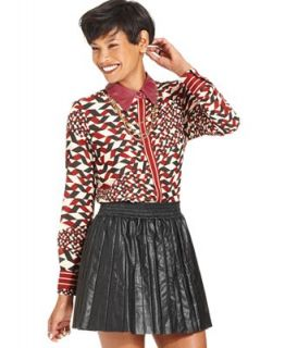 W118 by Walter Baker Top, Long Sleeve Printed Faux Leather Blouse   Tops   Women