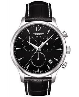 Tissot Watch, Mens Swiss Chronograph Tradition Black Leather Strap T0636171605700   Watches   Jewelry & Watches