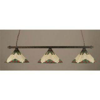 3 Light Square End Bar Lights w Green Sunray Glass   Ceiling Pendant Fixtures