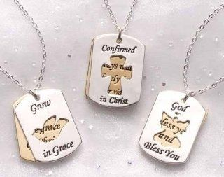 Club Pack of 36 Religious Confirmation Dog Tag Pendant Necklaces