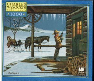 Charles Wysocki Americana Series 1000 Piece Puzzle   Lil' Buckaroo's First Date   Winter Scene Featuring a Boy Holding Flowers Ringing a Bell To a Log Cabin With a Horse Drawn Sleigh In The Background Toys & Games
