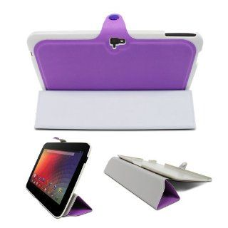Fosmon OPUS Series Leather Slim Case Folio Cover with Multi Angle Stand for Google Nexus 10 inch Tablet   Purple Computers & Accessories