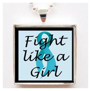 Fight Like a Girl Teal Ovarian Cancer Ribbon Glass Tile Pendant Necklace with Chain: Jewelry