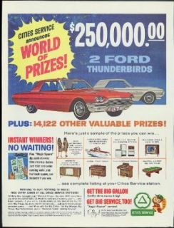 Cities Service World of Prizes Contest 1964 Ford Thunderbird prizes ad: Entertainment Collectibles