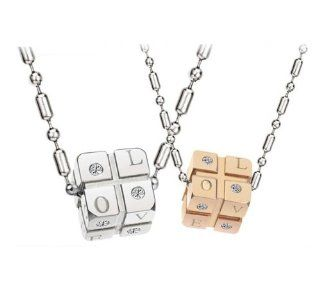 316l Stainless Steel Rubik Cube Shaped Pendant Necklace Set for Couple, Men, Women N101: Jewelry