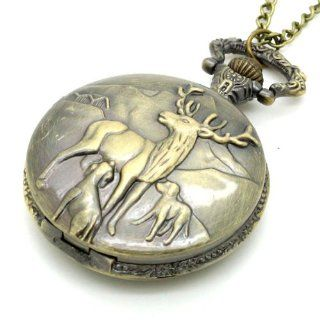 Conbays Bronze Quartz Reindeer Peary Caribou Pocket Watch Necklace Pendant Mens Gift: Watches