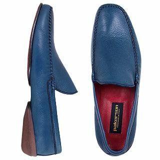 Pakerson Handmade Italian Blue Leather Loafer Shoes 7.5 US  7 UK  41.5 EU Shoes