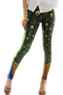 Pinkyee Women's Peacock Print Legging Green One Size Pattern Color at  Women�s Clothing store: Leggings Pants