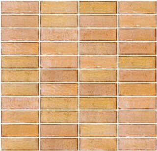 Susan Jablon Mosaics   1x3 Inch Peach Pink Iridescent Glass Subway Tile Reset In Stacked Layout