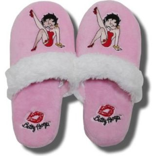 Betty Boop Pink Terry Slippers with faux White fur trim   One Size: Shoes