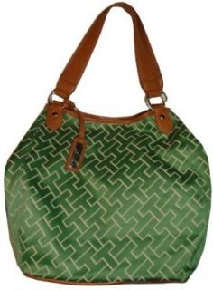 Tommy Hilfiger Women's Large Round Tote, Green/Brown Large Logo: Shoulder Handbags: Shoes