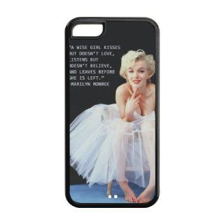 Customize A WISE GIRL KISSES BUT DOESN'T LOVE, LISTENS BUT DOESN'T BELIEVE, AND LEAVES BEFORE SHE IS LEFT.   Marilyn Monroe Waterproof Plastic and TPU Cases for Iphone 5C (Cheap IPhone5),Back case Cell Phones & Accessories