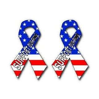 Support Our Troops   2 USA Flag Ribbons   Window Bumper Sticker: Automotive