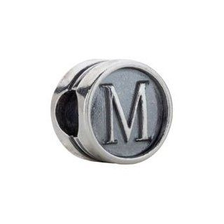 Sterling Silver M 10.60 mm Kera Alphabet Cylinder Bead: CleverEve: Jewelry