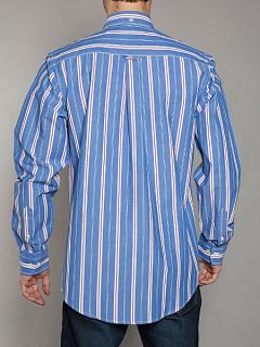 Raging Bull Big and tall red/mid blue stripe shirt Blue