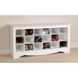 Winslow   Banco de almacenamiento con estantes para zapatos, blanco Winslow Benches