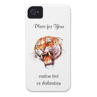 Cool cartoon tattoo symbol roaring tiger head Case Mate iPhone 4 cases