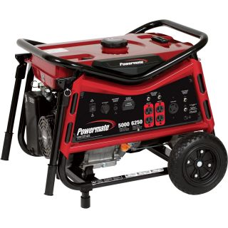 Powermate Portable Generator — 6250 Surge Watts, 5000 Rated Watts, CARB-Compliant, Model# PMC105007  Portable Generators