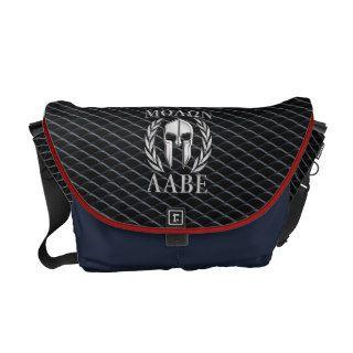 Molon Labe Chrome Spartan Helmet on Grille Courier Bag