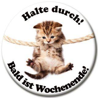 """Motivations Magnet """"Halte durch! Bald ist Wochenende"""" � 50 mm Katzenmotiv Katze am Seil: Küche & Haushalt"""