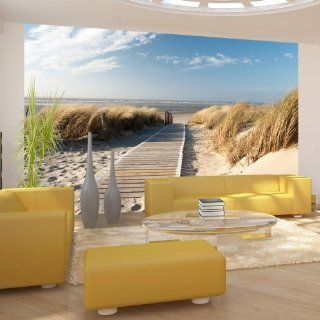Vlies Tapete  Top  Fototapete  Wandbilder XXL  450x270 cm   Strand  Sand  Wasser  Natur  Himmel  Sommerferien  D�ne  Sommer  Wolken  Blau  Nordsee  100603 26 Küche & Haushalt