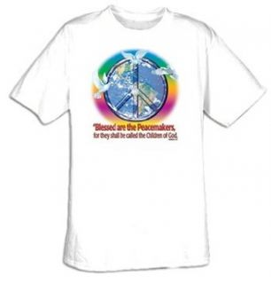 BLESSED ARE THE PEACEMAKERS Christian Peace Sign Symbol T shirt: Clothing