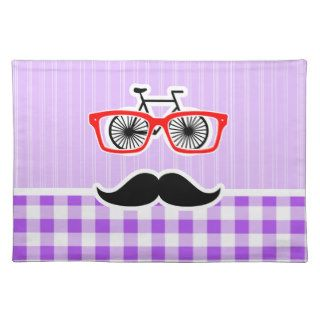Funny Hipster Mustache Purple Gingham Placemat