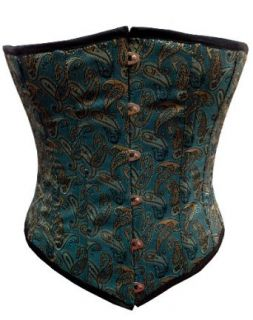 Miracle Corsets Women's Teal Brocade Fabric Steel Boning Underbust Corset: Adult Exotic Corsets: Clothing