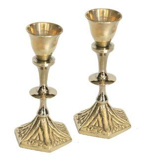 "Shabbat Sabbat Solid Brass Travel Candle Holders / Sticks Traditional Design ""Shabbat Kodesh"" Holy Shabbat In Hebrew On The Base 4"" Tall . Great Gift For Rosh Hashanah Sabbath Purim Sokot Simchat Torah Hanukkah Passover Lag Baomer Shavuot R"