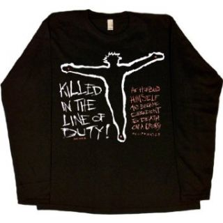 WOMENS LONG SLEEVE T SHIRT : BLACK   SMALL   Killed in the Line of Duty   Christian Jesus Christ Bible Quote: Clothing