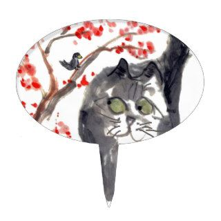 Cherry Blossom Cat and Bird Cake Toppers