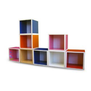Way Basics Modular Cubes Storage, Green/Orange/White   Childrens Furniture