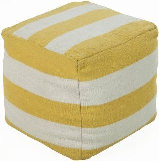 "18"" x 18"" x 18"" Poufs 100% Wool Ivory, Citrine This square pouf combines a striped pattern with bright colors to bring a sophisticated, yet fun look to any room. Made in India with one hundred percent wool, this pouf is durable and priced ri"