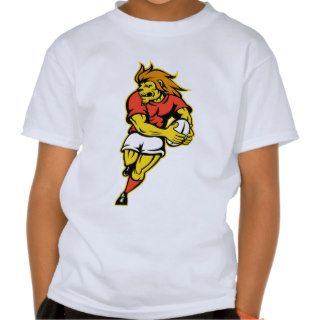 Lion playing rugby running with ball cartoon tshirts